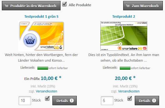 Stilvariant Produktliste mit Checkbox statt Warenkorb-Button